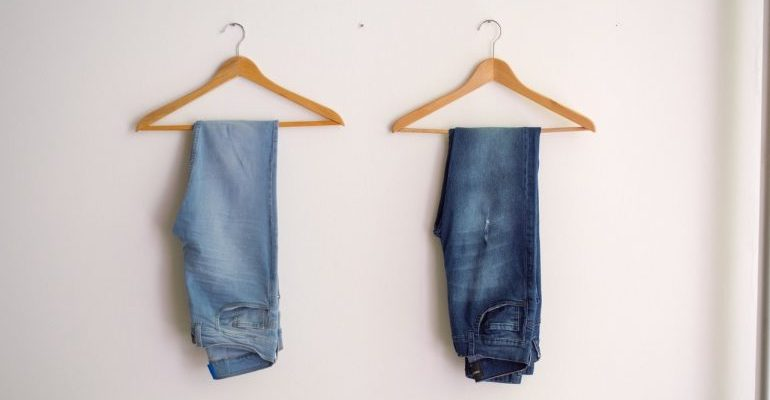 two hanged jeans